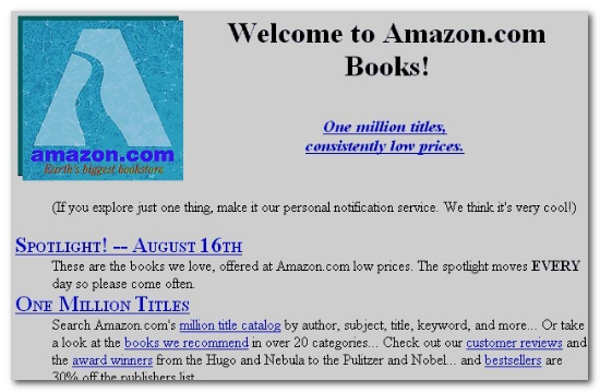 amazon 1995 look when launched