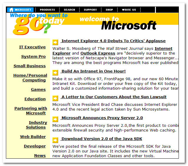 microsoft website old look