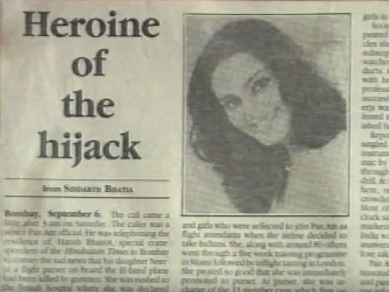 neerja bhanot news PAN AM Flight 73