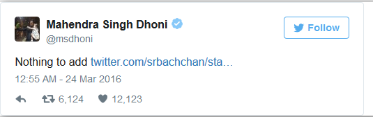 ms dhoni twitter