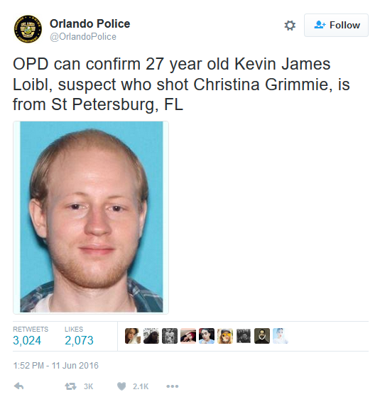 Kevin James Loibl Christina Grimmie's murder photo